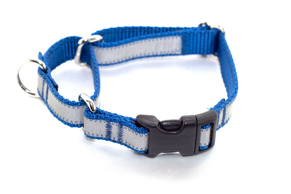 "Reflective Quick Release Martingale - royal blue, 3/4"" wide, M - Fox Valley Dog Collars"