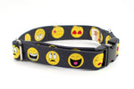 Emoji adjustable dog collar, 2 sizes - Fox Valley Dog Collars