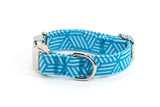 3D Geometric Blue adjustable dog collar, extra small - Fox Valley Dog Collars