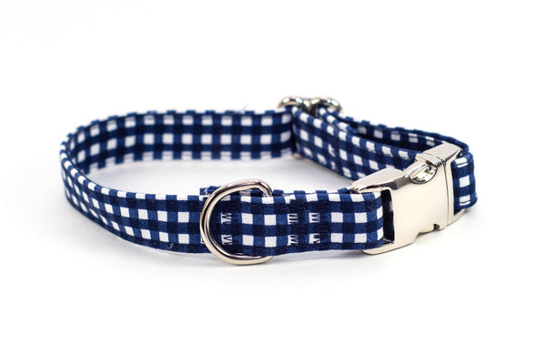 Navy Gingham adjustable dog collar, small - Fox Valley Dog Collars
