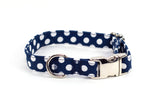 Navy with White Polka Dots adjustable dog collar, small - Fox Valley Dog Collars