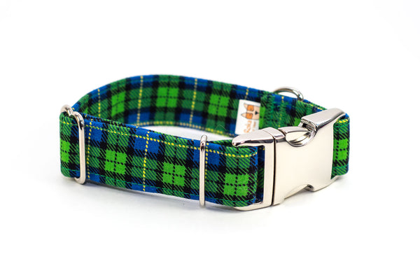 Green & Blue Farmer Plaid adjustable dog collar, WIDE small - Fox Valley Dog Collars