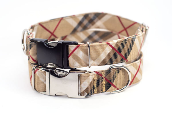 "1.5"" wide Black & Tan Plaid adjustable dog collar, M or XL"