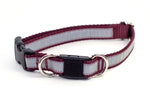 "Reflective Breakaway Dog Collar - burgundy, 3/4"" wide, M/L - Fox Valley Dog Collars"