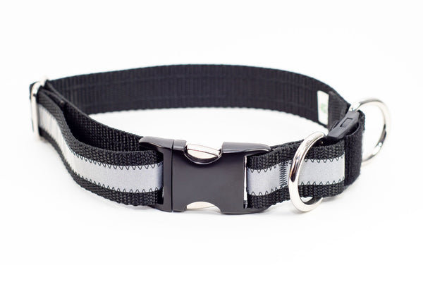 Reflective Breakaway Dog Collar - Black, 2 sizes - Fox Valley Dog Collars