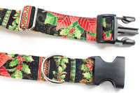 Holiday Poinsettia & Holly Berry Adjustable Dog Collar