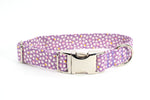 Purple Popcorn Petals adjustable dog collar, medium - Fox Valley Dog Collars