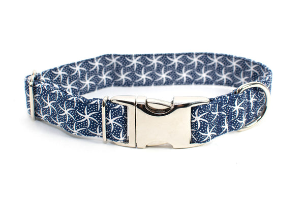 Starfish on Navy adjustable dog collar, medium