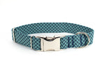 Teal & Navy Harringbone adjustable dog collar, medium