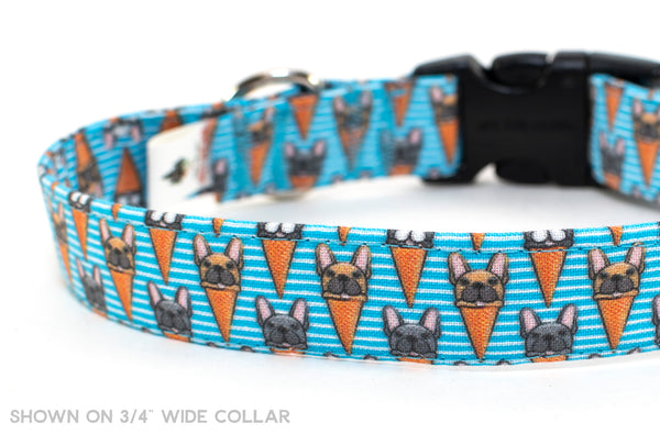 Frenchie Delight adjustable dog collar, medium