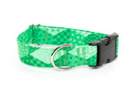 Kelly Green Geometric Adjustable Dog Collar - Fox Valley Dog Collars