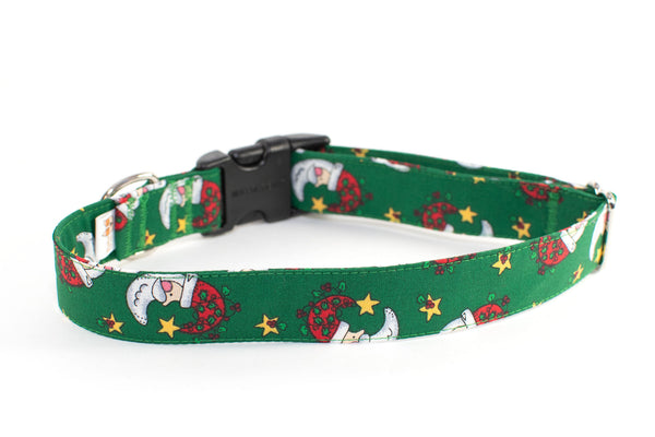 "Santa Crescents adjustable dog collar, 1"" Large - Fox Valley Dog Collars"
