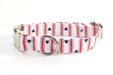Hearts & Stripes Forever Adjustable Dog Collar - small & medium only