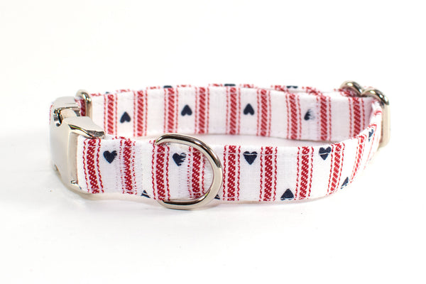 Hearts & Stripes Forever Adjustable Dog Collar - small & medium only - Fox Valley Dog Collars