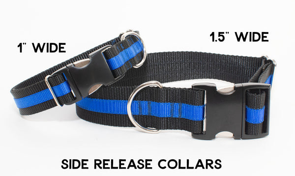 Thin Blue Line Dog Collar - flat buckle, martingale, breakaway - Fox Valley Dog Collars