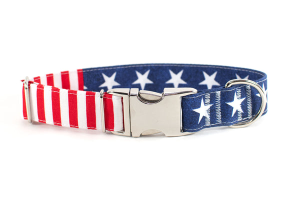 Glory American Flag (large stars) Adjustable Dog Collar - ready to ship