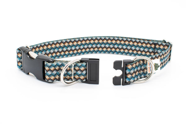 BREAKAWAY Personalized Metallic Woven Chain Look, 4 widths, Patterned Webbing Dog Collar