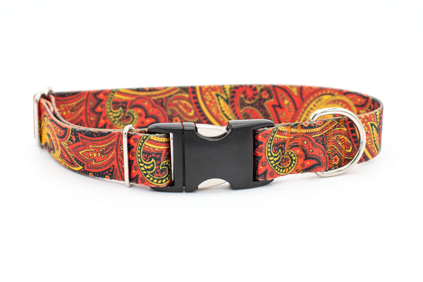 Personalized Fire Paisley Patterned Webbing Flat Buckle Dog Collar