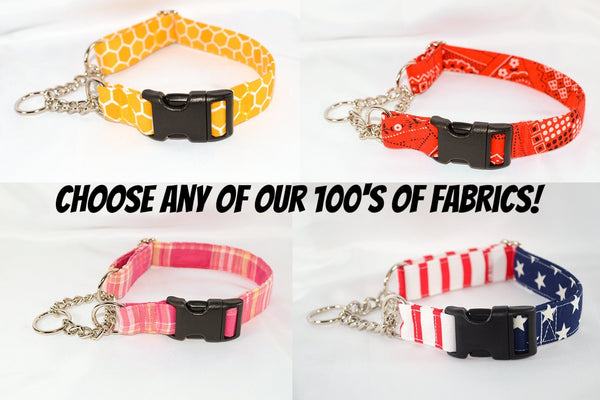 Choose-a-Fabric Quick Release Chain Martingale Dog Collar - Fox Valley Dog Collars