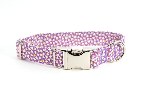 Purple Popcorn Petals Adjustable Dog Collar - Fox Valley Dog Collars