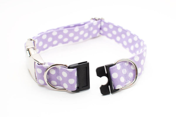 Lavender with White Polka Dots BreakAway Dog Collar - ready to ship