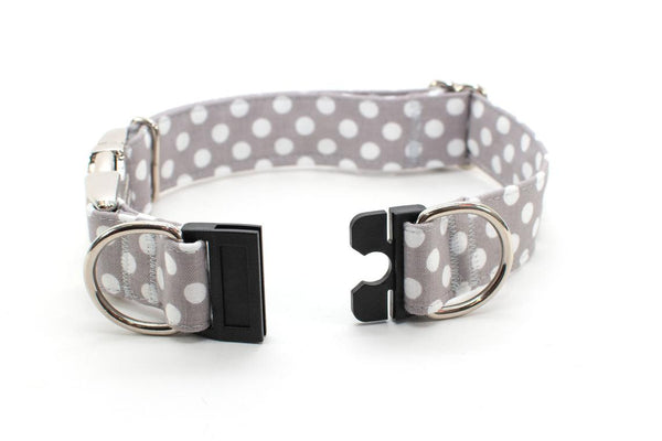 Gray with White Polka Dots BreakAway Dog Collar - ready to ship