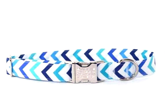 LAST ONE - Aqua Marine Chevron Adjustable Dog Collar - Fox Valley Dog Collars