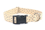 Navy Stars on Beige Adjustable Dog Collar - Fox Valley Dog Collars
