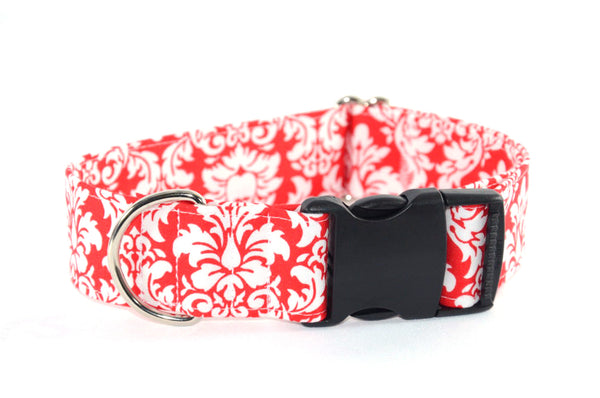 Red & White Damask Adjustable Dog Collar - Fox Valley Dog Collars