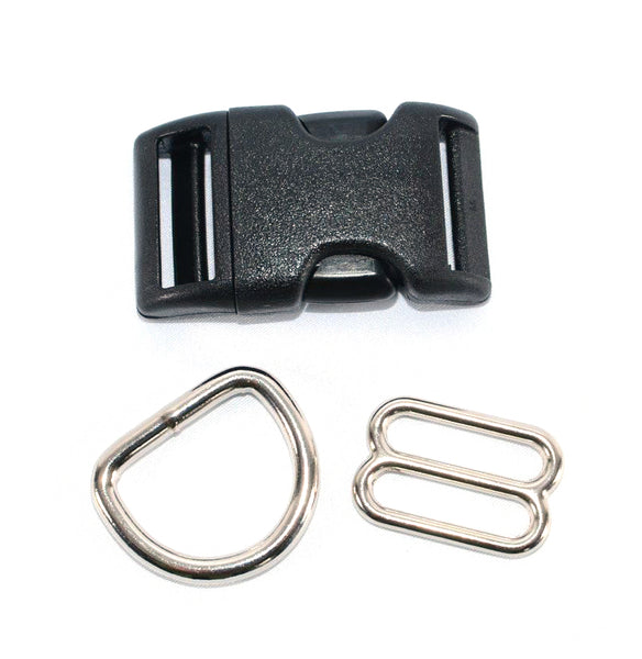 Adjustable Buckle Dog Collar Hardware Kit - D rings - Slides - Buckle - Fox Valley Dog Collars