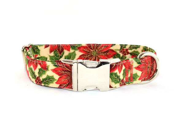 Poinsettia with Metallic Gold Accents Adjustable Dog Collar - Fox Valley Dog Collars