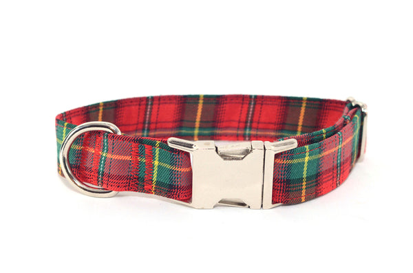 Classic Red & Green Christmas Plaid Adjustable Dog Collar - Fox Valley Dog Collars