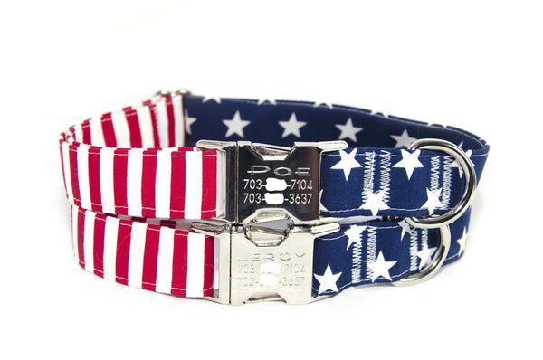 Glory American Flag (large stars) Adjustable Dog Collar - Fox Valley Dog Collars