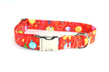 Happy Birthday Balloons on Red Adjustable Dog Collar - Fox Valley Dog Collars