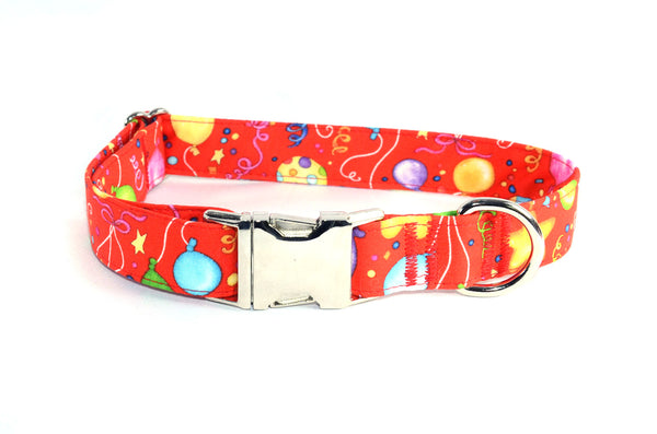Happy Birthday Balloons on Red Adjustable Dog Collar