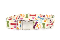 Bones & PawPrints on Bone Adjustable Dog Collar - Fox Valley Dog Collars