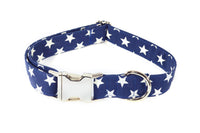 Large Stars on Navy Adjustable Dog Collar