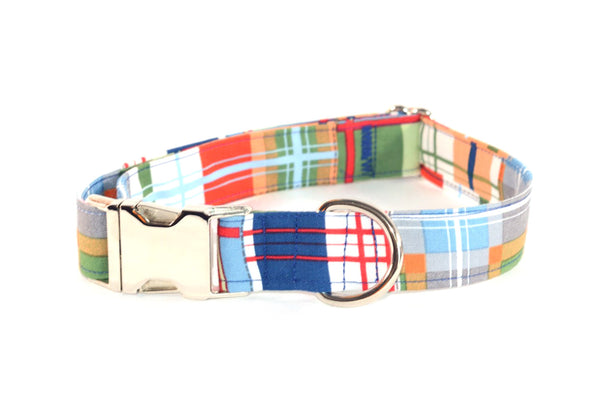 "LAST ONE - Nautical Plaid Adjustable Dog Collar - M - 1"" - ready to ship!"