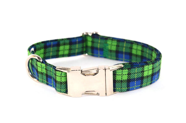 Green and Blue Farmer Plaid Adjustable Dog Collar - Fox Valley Dog Collars