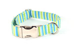 Summer Beach Breeze Stripes Adjustable Dog Collar - Fox Valley Dog Collars