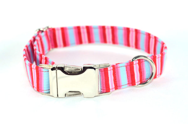 Summer Raspberry Stripes Adjustable Dog Collar - Fox Valley Dog Collars