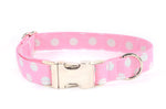 ALMOST GONE - Gray Polka Dots on Pink Adjustable Dog Collar - Fox Valley Dog Collars