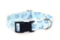 Rainy Day Umbrellas in Blue Adjustable Dog Collar - Fox Valley Dog Collars