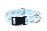 Rainy Day Umbrellas in Blue Adjustable Dog Collar
