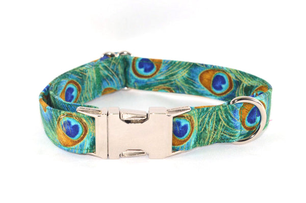 Peacock Feathers Metallic Accented Adjustable Dog Collar - Fox Valley Dog Collars