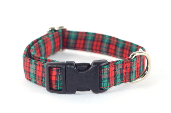 Christmas Petite Plaid Adjustable Dog Collar - Fox Valley Dog Collars
