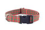 Christmas Gingham Adjustable Dog Collar - Fox Valley Dog Collars