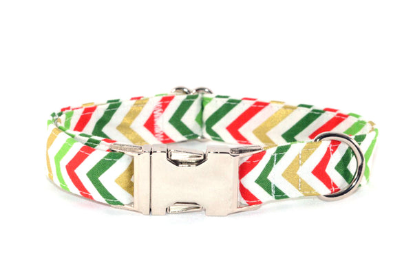 Red, Green, & Gold Christmas Chevron Adjustable Dog Collar - Fox Valley Dog Collars
