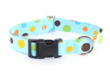 Baby Blue Multi Dots Adjustable Dog Collar - Fox Valley Dog Collars