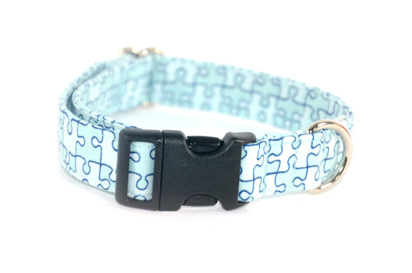 Puzzle Pieces in Light Blue Adjustable Dog Collar